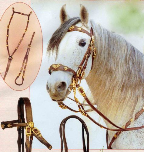 Complete set of Portugues or Baroque Cortezia SINGLE bridle with matching breastplate & crupper